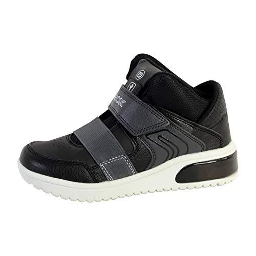 Geox Jungen High-Top Sneaker XLED Boy, Kinder Sneaker,LED Licht Text,Sportschuh,Mid Cut Sneaker,Klettverschluss,atmungsaktiv,SCHWARZ,33 EU / 1 UK -