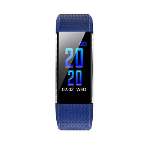 UKCOCO Bluetooth Smart Armband Uhr mit Pulsmesser Blutdruck Monitor Wasserdichte Sportuhr für Android 4.4/iOS 8.0 (Blau) (Ios-8-blutdruck-monitor)