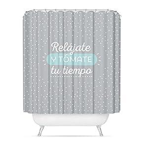 dcasa – Cortina de baño original diseño frase «RELAJATE» poliester 180 x 200cm