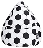 Gouchee Home Brava Collection Contemporary Oversized Cotton Upholstered Soccer Design Bean Bag Chair Black/White