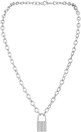 jasminelady - Collana con ciondolo a forma di lucchetto semplice, unisex, idea regalo in argento