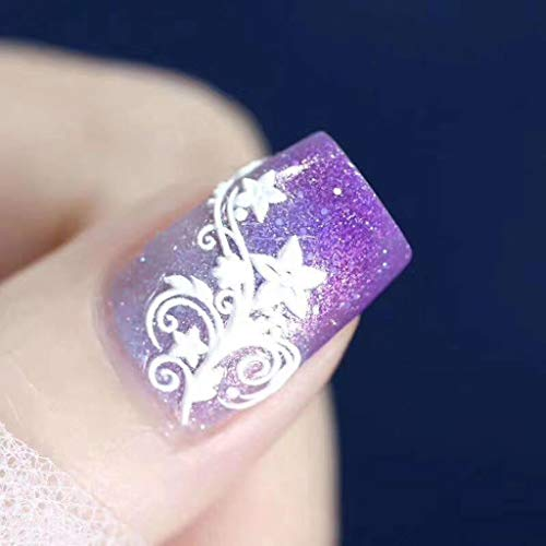 Blaue 6D Scrub dreidimensionalen Nagelaufkleber Nagelfolie Nagelaufkleber Blume Nagel Sticker selbstklebende Aufkleber Tattoo Abziehbilder DIY Nail (Einheitsgröße, E)