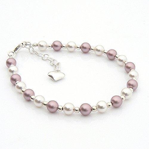 Vintage Rose et blanc perle et argent sterling Bracelet de baptême