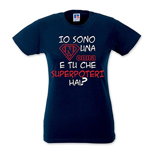 T-Shirt Donna Idea Regalo Festa Dei nonni Superpoteri Blu