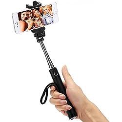 Bastone Selfie Stick Auto-Ritratto Pieghevole Allungabile Monopiede Palo Telescopico Controllo Bluetooth Palmare per GoPro Hero 5, iPhone 7/6s/6/5S, Samsung S7/S6 Edge, HTC, Huawei, fotocamere compatte androide iOS