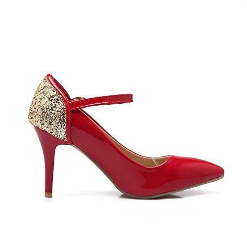 VogueZone009 Femme Boucle Pointu à Talon Haut Pu Cuir Couleurs Mélangées Chaussures Légeres Rouge