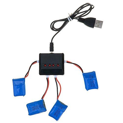 kingtoys® 4 pcs 3.7V 200mAh Batería Llipo 4 en 1 Cargador Para Syma x11 x4 x5 RC Quadcopter