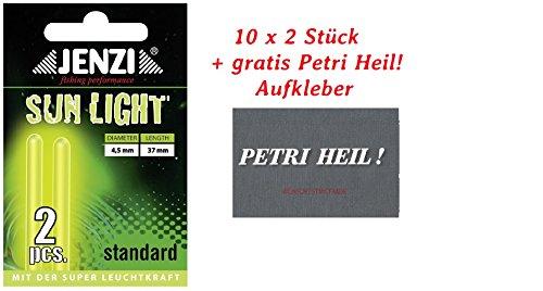20 STÜCK JENZI KNICKLICHT 4,5mmx3,7cm + Petri Heil Aufkleber