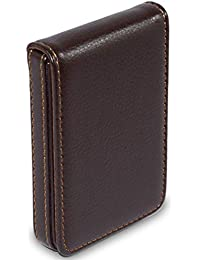 NISUN Leather Pocket Sized Business/Credit/ATM Card Holder case Wallet with Magnetic Shut for Gift Brown