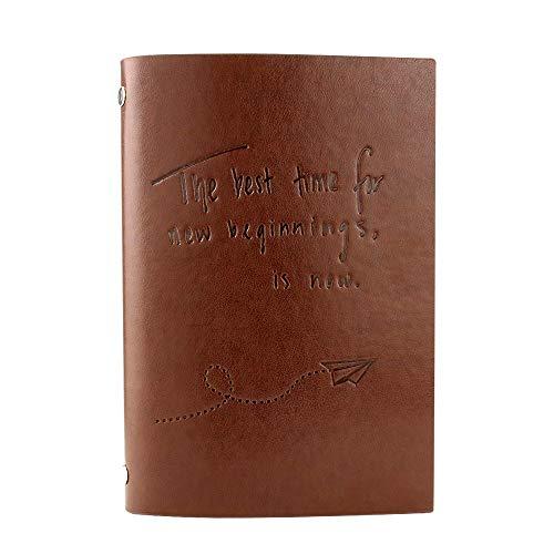 VEESUN Libreta Bonitas Hojas Blancas Cuaderno de Viaje Bloc Notas Cuero Vintage entre A6-A5, Regalo Originales Navidad San Valentín Cumpleaños Aniversario Boda para Mujer, Avión de papel