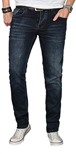 Preisvergleich Produktbild Alessandro Salvarini Designer Herren Jeans Hose Regular Slim Fit Jeanshose Basic Stretch [AS-059 - W31 L30], Dunkelblau