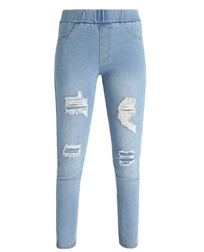 MECshopping jeggings strappati leggings jeans elasticizzati elastico in vita Blu chiaro