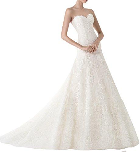 La_mia Braut Vintag Elfenbein Spitze Traegerlos Brautkleider Brautmode Hochzeitskleider Lang A-linie...