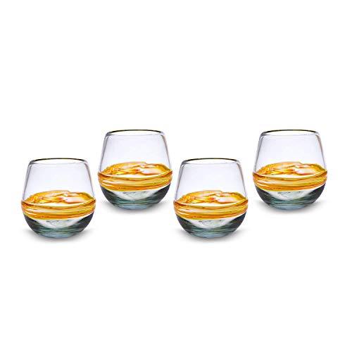 Glasmanufaktur Mitienda, Gläser 4er Set Ringe Orange, Wasserglas, Saftglas Universalglas 11cm, Mundgeblasenes Glas Aus Mexiko, Glas-Recycling -