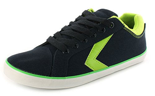 New Older Boys/Childrens Navy/Lime Lace Ups Fashion Canvas Shoes. - Navy/Lime - UK SIZE 1