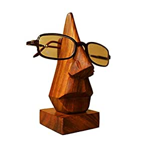 Pindia Hand Crafted Wood Spectacle Holder (6 inch, Brown)