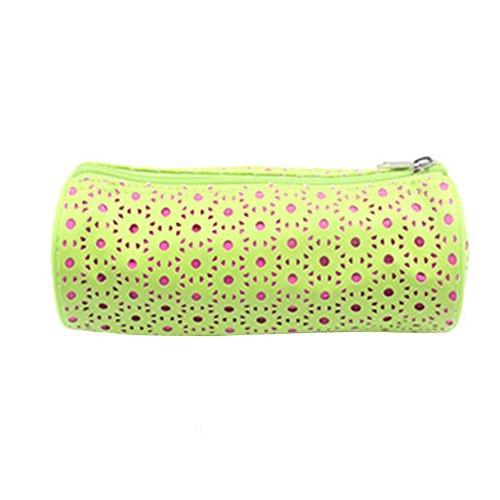 fablcrew neceser lunares lápiz Casos Zipper almacenamiento de bolsa de aseo para los écolières o el escritorio de las mujeres, color verde 20*8.5*8.5cm