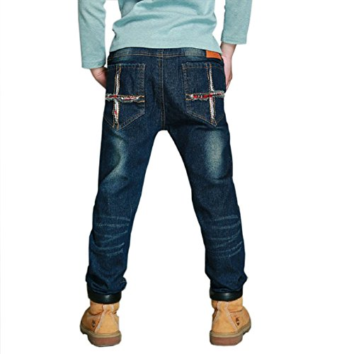 DIIMUU Big Boys Kids Trousers Denim Clothing Jeans Cowboy Designers Jeans 5-9 Years for Spring-Autumn (Navy Blue, 7 Years)