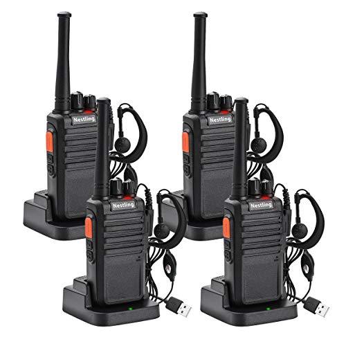 Nestling 4pz walkie talkie professionali ricetrasmittente con auricolari 16 canali distanza 3km portatile microfono bidirezionale 1800 mah per campo di sopravvivenza ciclismo ed escursione
