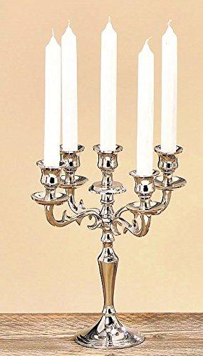 Boltze Kerzenleuchter, Kerzenständer 5-armig, 26cm hoch silber, Varas Kerzenleuchter für hohe Kerzen