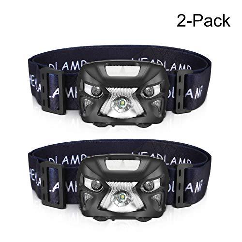 AIPROV 2Unidades Linterna Frontal LED Recargable, 200 Lúmenes Sensor Inteligente,Impermeable,luz Blanca Brillante +Luz Roja (SOS) para Correr, Camping, Cenderismo, caminar, más deportes al aire libre