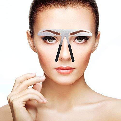 Modelos de cejas Plantilla de bricolaje, Stainess Ceja de acero Regla de medición Tatuaje Microblading Maquillaje permanente Herramienta de posicionamiento de oro Ratio(1)