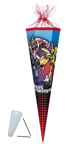 Unbekannt Schultüte - Transformers Prime 22 cm - mit / ohne Kunststoff Spitze - Tüllabschluß - Zuckertüte Nestler - für Jungen Transformer Optimus Bumblebee Auto