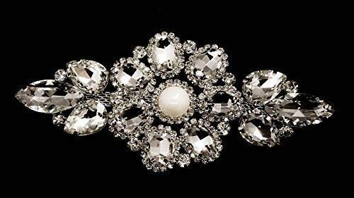 Trimming Shop Strass Strass Kristalle Aufnäher Applikation für Braut Hochzeit Kleid, Freizeit oder Formell Kleidung Mode Accessoires 125mm X 60mm Ca Patch Nr. A501 - 14 Klare Patches