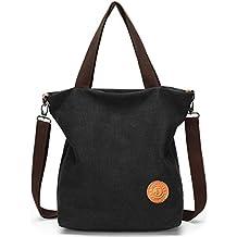 d6750920e8d08 JANSBEN Damen Canvas Handtasche Schultertasche Casual Multifunktionale  Umhängetaschen Groß für Arbeit Schule Shopper Lässige täglich