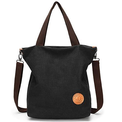 JANSBEN Damen Canvas Handtasche Schultertasche Casual Multifunktionale Umhängetaschen Groß für Arbeit Schule Shopper Lässige täglich (Schwarz)
