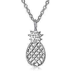 IUANUG Collar Mujer Plata De Ley 925 Personalidad Piña Colgante De Diamantes