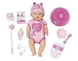 BABY born isst gerne ihren Babybrei vom Tellerchen mit Löffel und trinkt am liebsten Wasser aus ihrem Fläschchen. Wenn sie traurig ist, dann kann sie echte Puppentränen weinen, wenn man ihren weichen Oberkörper drückt. Vielleicht weint sie ja, weil s...