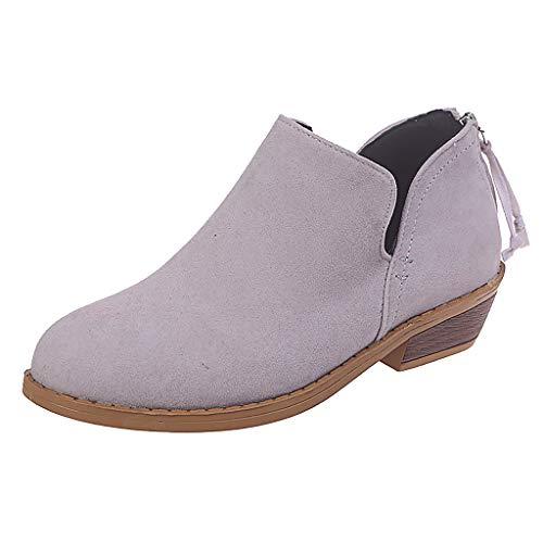 AIFGR Stiefel Damen, Volltonfarbe Quadrat mit Rundem Kopf Wildleder zurück Reißverschluss Stiefel nackte Stiefel einzelne Schuhe Winter Herbst Schwarz