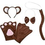 dressforfun 302048 - Kostüm Set AFFE für Erwachsene, Haarreif mit Ohren, Handschuhe, Fliege und Schwanz
