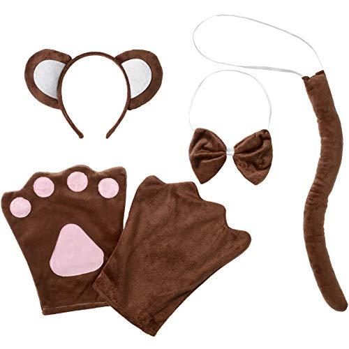 Für Affen Erwachsene Kostüm - dressforfun 302048 - Kostüm Set AFFE für Erwachsene, Haarreif mit Ohren, Handschuhe, Fliege und Schwanz