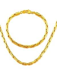 Los nuevos hombres de moda al por mayor joyas de 18 quilates chapado en oro de 4,8 mm cadena de serpiente collar pulsera joyas africano