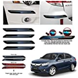 CSC CRAFT Rubber Car Bumper Protector Guard with Double Chrome Strip for Car 4Pcs - Black (for Honda Amaze)