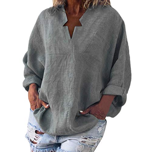 TMOTYE Bluse Damen Elegant Einfarbiger Langarm-Pullover aus Baumwolle und Leinen mit V-Ausschnitt für Damen Casual Oberteile Hemd Lose Langarmshirt Tops - Stretch-baumwolle-glatte Fit Bh