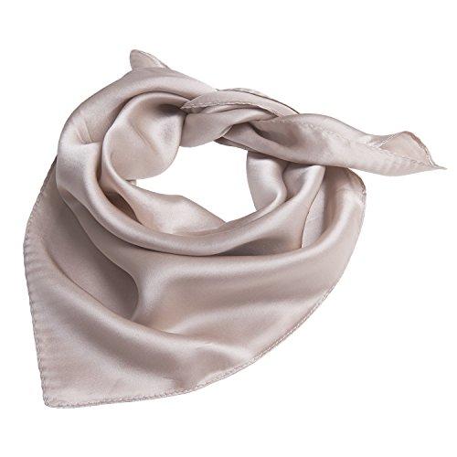 Heyjewels Seidenschal Seidentuch Bandana Halstuch Kopftuch aus Seide Unifarben 52 x 52cm (Blassbraun)