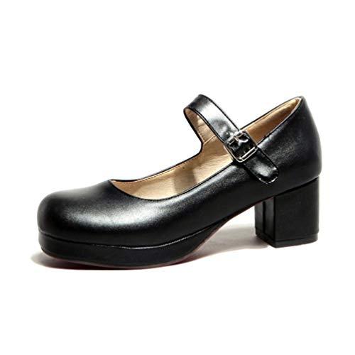 Süße High Heel (Frauen Mary Janes Pumps Damen süße High Heels Low Heel Lolita Bottom Heels Prinzessin Knöchel Riemen Schuhe)