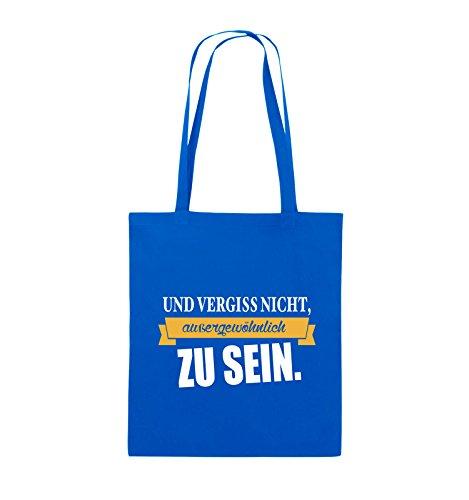 Comedy Bags - Und vergiss nicht, aussergewöhnlich zu sein. - Jutebeutel - lange Henkel - 38x42cm - Farbe: Schwarz / Weiss-Neongrün Royalblau / Weiss-Gelb