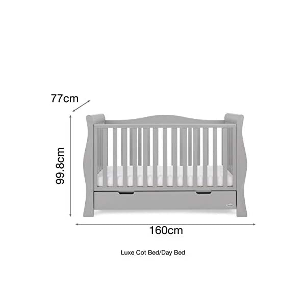 Obaby Stamford Luxe Sleigh Cot Bed, Warm Grey Obaby Adjustable 3 position mattress height Sides remove to transform into toddler bed Includes matching under drawer for storage 5