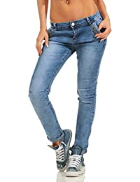 4c58bd1d5265 Fashion4Young Knackige Damen Jeans Röhre Skinny Slim Fit Damenjeans Stretch  Denim Hose Zipper Übergrößen