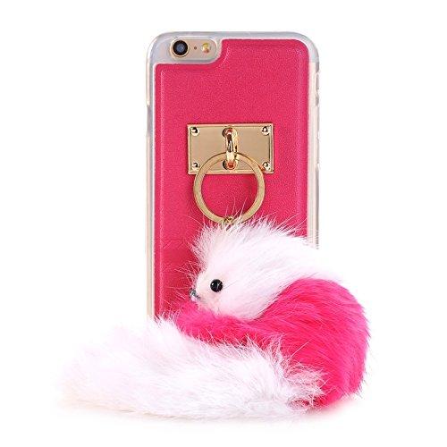 Phone case & Hülle Für IPhone 6 / 6s, PU Paste Haut TPU Schutzhülle mit Fox Anhänger ( Color : White ) Magenta