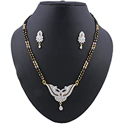 Glory Jewels Gold Plating Alloy Mangalsutra Set Studded With American Diamond For Women