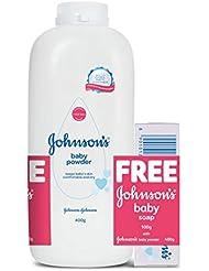 Johnson's Baby Powder (400g) with Free Johnson's Baby Soap (100g)