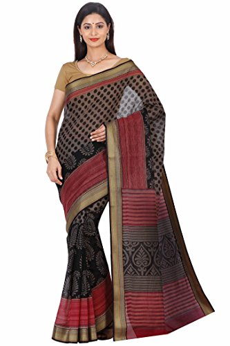 Urban Vastra Black-Red-Grey Polka Dot Gadwal Cotton Traditional Saree ( 20571RRGD )  available at amazon for Rs.599