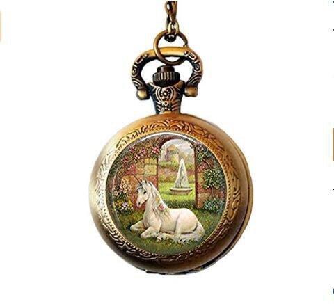 Einhorn Taschenuhr Halskette, Einhorn Schmuck, Secret Garden, Märchen, Mythologie Fantasy Art Taschenuhr Halskette in Bronze oder Silber mit Link Kette enthalten