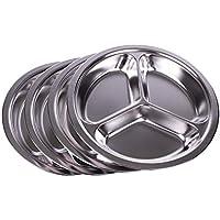 Parijat – Platos de acero inoxidable para cena (juego de 4), 2,