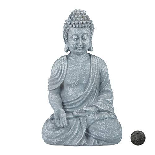 Relaxdays Estatua Buda Sentado Jardín Salón, Resina